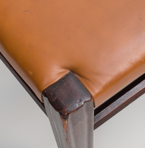 Pair of Stained Wood and Leather Upholstered Stools