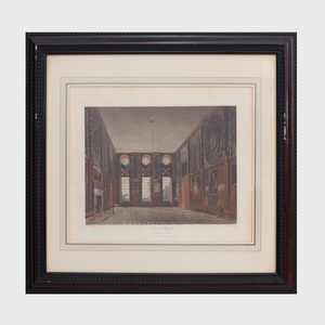 James Stephanoff (1788-1874):The Kings Library, Buckingham House; Guard Chamber, Hampton Court; The Kings Library, Buckingham House; and The Queen's Library, St. James's, from The History of the Royal Residences