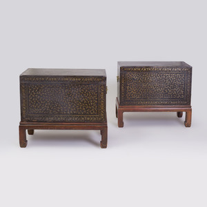 Pair of Indian Black Lacquer and Parcel-Gilt Trunks on Later Stands, Possibly Bareilly