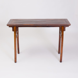 Chinese Zhazhen and Mixed Wood Recessed Leg Table