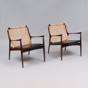 Pair of Modern Stained Wood and Caned Lounge Chairs