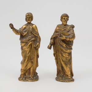 Two Continental Gilt-Bronze Figures of Apostles