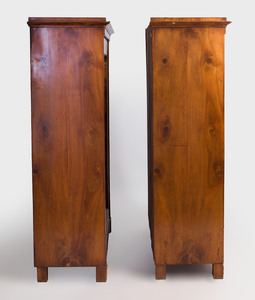 Pair of Biedermeier Walnut Vitrine Cabinets