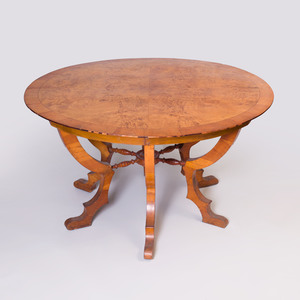 German String Inlaid Cross Banded Cherry Burl Wood Center Table