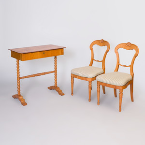 Pair of Biedermeier Birch Side Chairs and a Biedermeier Inlaid Birch Table