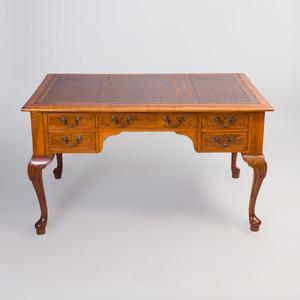 George II Style Burl Walnut Desk