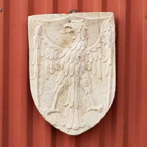 Continental Carved Marble Plaque Centered by an Eagle
