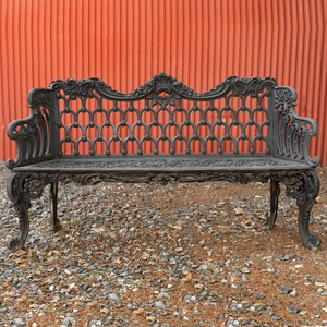Black Painted Cast Iron Garden Bench, Possibly Coalbrookdale