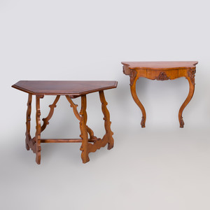 German Rococo Style Fruitwood Console Table and an Italian Baroque Style Walnut Console Table
