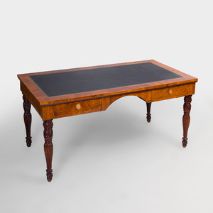 Italian Neoclassical Gilt-Metal Mounted Walnut Desk