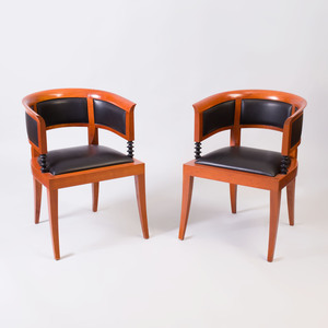 Pair of Leon Krier Cherry and Leather Upholstered Armchairs, for Giorgetti