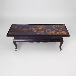 Chinese Style Black Lacquer and Parcel-Gilt Panel Mounted as a Low Table