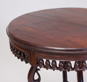 Unusual Chinese Export Rosewood Circular Side Table