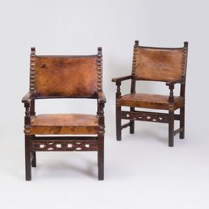 Pair of English Walnut and Oak Armchairs, in the Italian Renaissance Taste