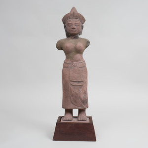 Khmer Style Carved Sandstone Figure