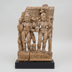 Indian Carved Wood Frieze Fragment of Deities