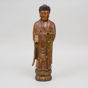 Japanese Painted and Parcel-Gilt Wood Figure of Buddha