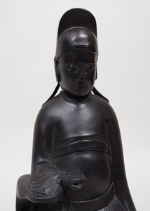 Chinese Carved Ebony Figure of a Seated Immortal