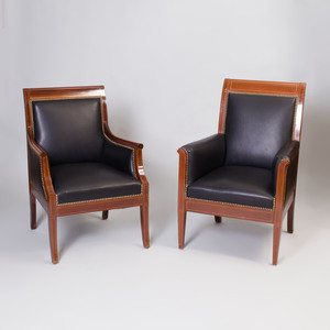 Near Pair of Empire Style Mahogany Bergères