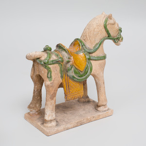 Chinese Ming Style Green and Ocre Glazed Pottery Horse, a Well Base and a Chair