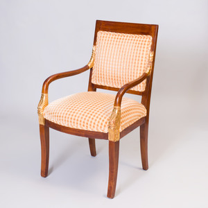 Empire Style Mahogany and Parcel-Gilt Fauteuil à la Reine