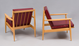 Pair of Bleached Wood Armchairs, in the Style of Heywood Wakefield
