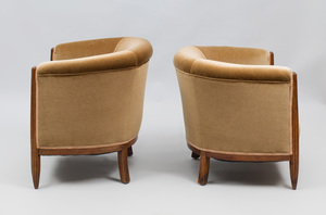 Near Pair of Mahogany Art Deco Club Chairs