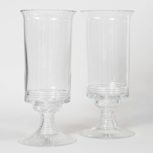 Pair of William Yeoward Glass Photophores on Stands