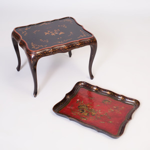 Chinese Export Red and Black Lacquer Tray on Stand