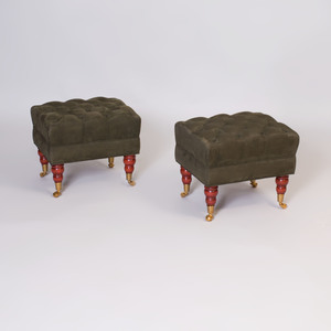 Pair of Ultrasuede Upholstered Stools, of Recent Manufacture
