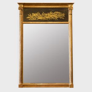 George III Giltwood and Verre Églomisé Pier Mirror