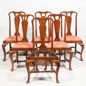 Set of Six Queen Anne Style Walnut Dining Chairs