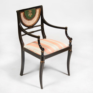 Regency Style Black Painted and Caned Armchair