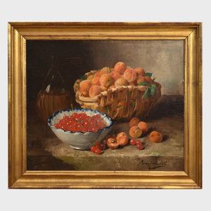 Alfred Brunel Neuville (1852-1941): Still Life with Apricots and Cherries