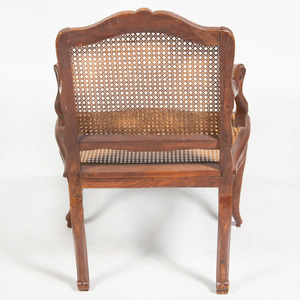 Louis XV Style Provincial Beechwood and Caned Fauteuil à la Reine