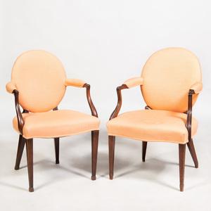 Two George III Style Mahogany Armchairs