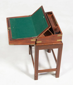 Regency Brass-Mounted Mahogany Lap Desk on Later Stand