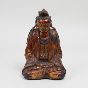 Chinese Lacquer and Parcel-Gilt Seated Figure of Buddha