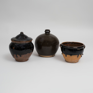Three Chinese Black Glazed Pottery Vessels