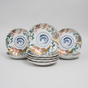 Set of Nine Japanese Porcelain Lobed Dishes