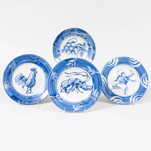 Set of Eight Blue and White Glazed Pottery Plates