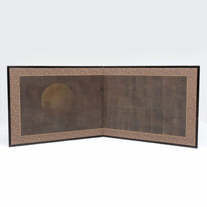 Japanese Painted Paper Two Fold Screen, 'Full Moon'