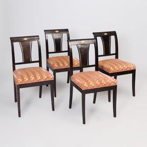 Set of Four Biedermeier Inlaid Ebonized Side Chairs