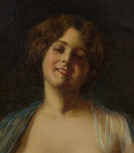 American School: Portrait of a Woman with a Blue Shawl