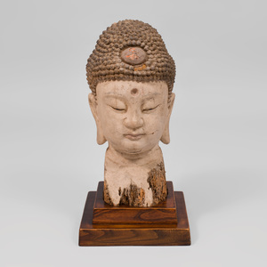 Southeast Asian Painted Wood Head of Buddha