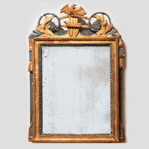 Louis XVI Provincial Carved Giltwood and Painted Mirror