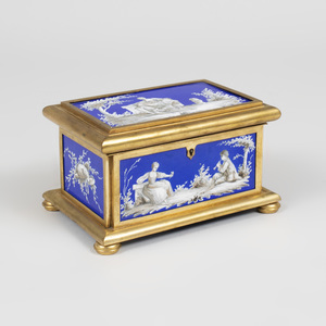 Continental Gilt-Bronze and Cobalt Porcelain Table Casket