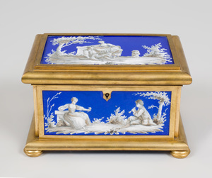 Continental Gilt-Bronze and Cobalt Porcelain Table Casket