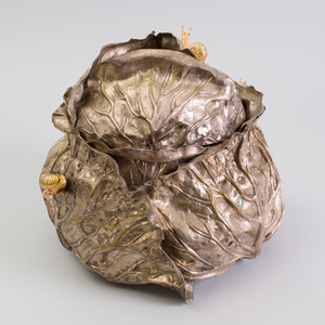 Sheila Gray Gilt-Metal-Mounted Silvered-Metal Cabbage Form Tureen and Cover