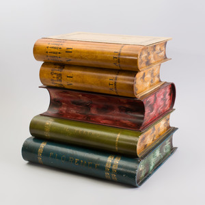 Decorative Tôle Peinte Stack of Books with Hinged Lid